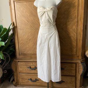 Greylin white bow tie wide leg strapless jumpsuit